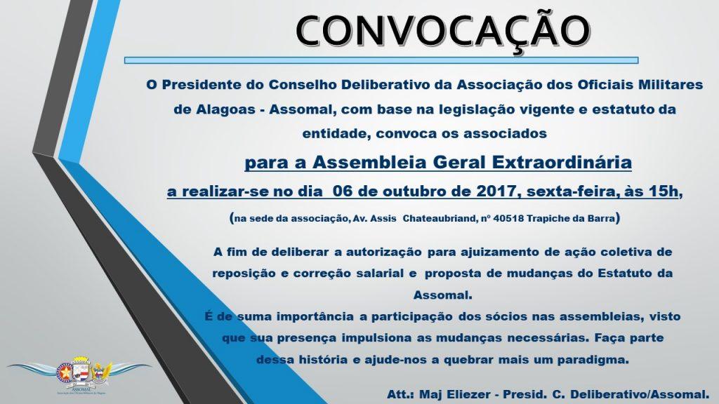 Convocação - Assembleia Geral Extraordinária - Dia 06 de Outubro de 2017 às 15h
