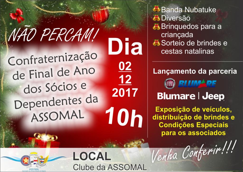 Confraternização para Sócios e Dependentes da Assomal ocorrerá próximo sábado dia 02 de dezembro