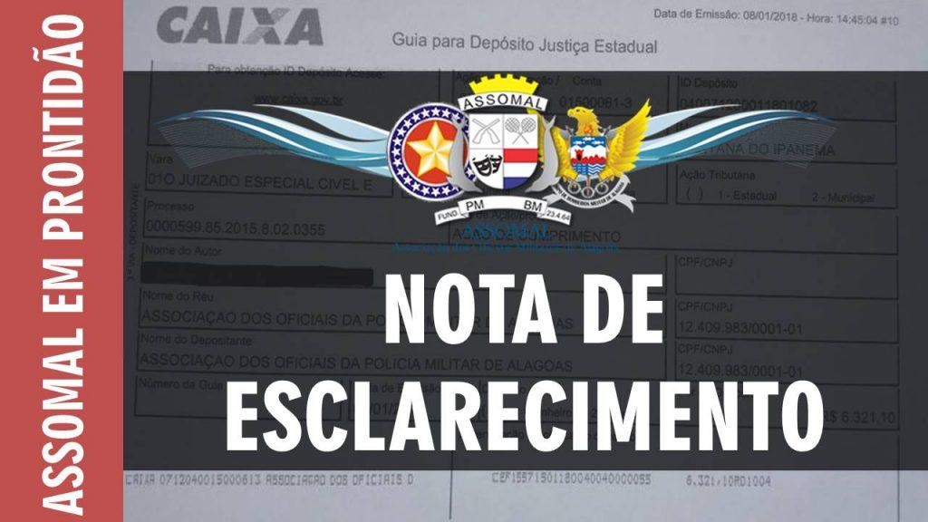 NOTA DE ESCLARECIMENTO - ASSOCIAÇÃO DOS OFICIAIS MILITARES DE ALAGOAS