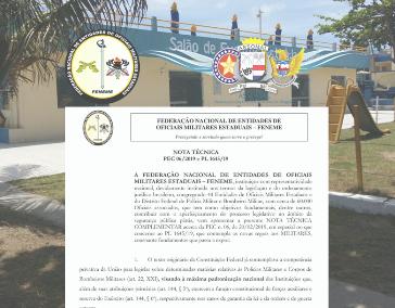 FENEME - Nota Técnica Complementar - N. 06/2019 e PL 1645/19, que contempla as novas regras aos Militares