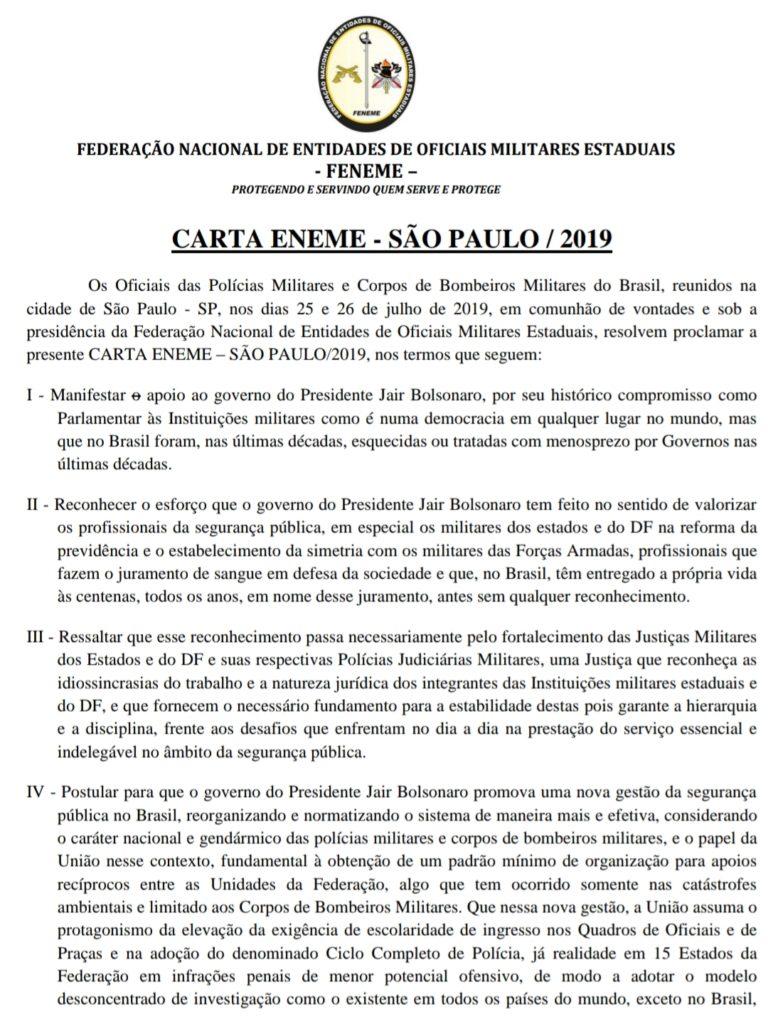 CARTA ENEME SÃO PAULO/2019 para conhecimento e difusão.