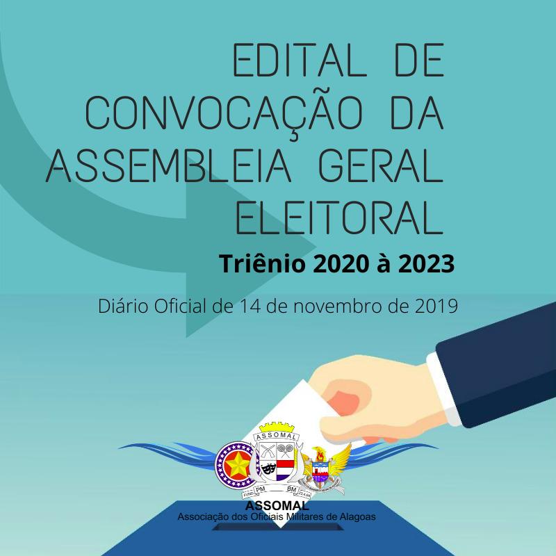 Assomal pública no DOE edital  de convocação da Assembleia Geral Eleitoral