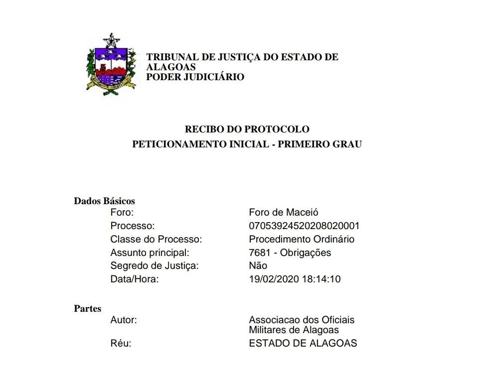 Assomal protocolou ação ordinária no TJ contra Governo do Estado para implementação de Lei Federal.