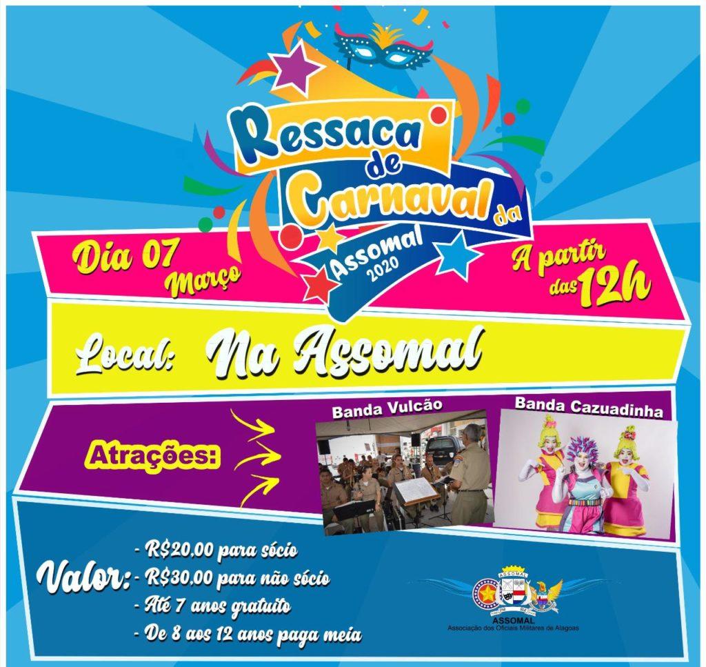 Assomal promove ressaca de carnaval no dia 07 de março com as bandas Cazuadinha e Vulcão