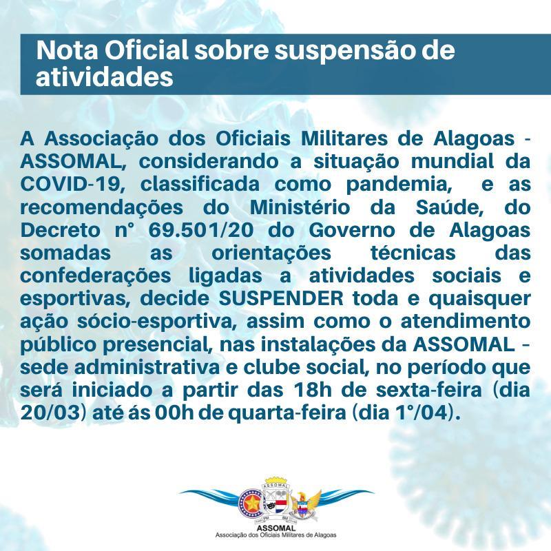 Nota Oficial sobre suspensão de atividades
