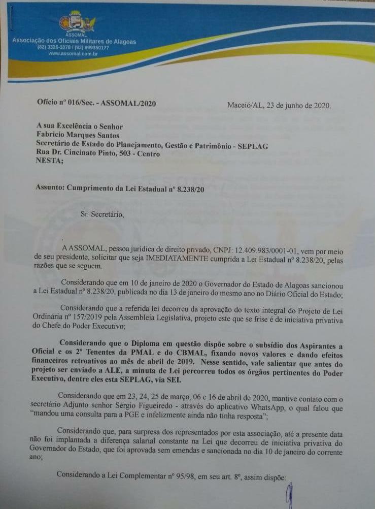 ASSOMAL pede implementação imediata da Lei 8.238/20 de correção de subsídios da Polícia e Corpo de Bombeiro Militar