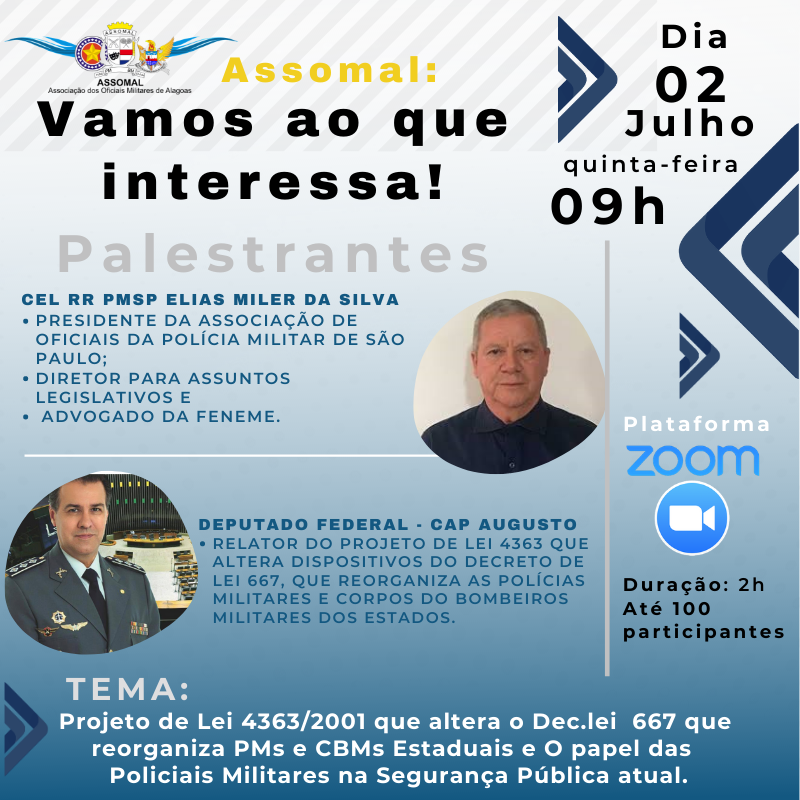 ASSOMAL: Vamos ao que interessa! A próxima Live já tem data marcada e será conduzida pelo Cel Elias Miler e pelo Deputado Federal PL-São Paulo, Cap Augusto